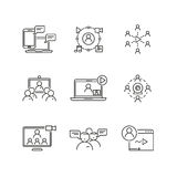 Webinar and communication vector linear icons Royalty Free Stock Images