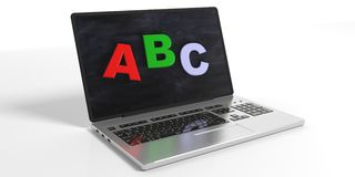 Webinar concept - abc on the laptop screen. 3d illustration Royalty Free Stock Images