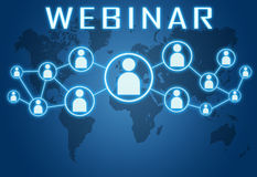 Webinar. Concept on blue background with world map and social icons stock illustration
