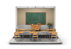 Webinar concept. Chalkboard with teacher desk in the laptop screen and school desk on the keyboard. 3d illustration Stock Photo