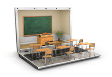 Webinar concept. Chalkboard with teacher desk in the laptop screen and school desk on the keyboard. 3d illustration Royalty Free Stock Photos