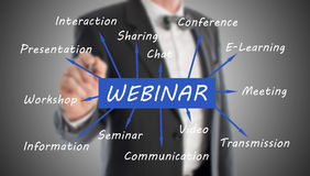 Webinar concept drawn by a businessman stock photography