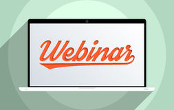 Webinar. Concept for e-learning, global communication and education. Flat design illustration Royalty Free Stock Photo