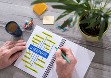 Webinar concept on a notepad. Webinar concept drawn on a notepad placed on a desk Stock Photo