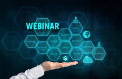 Webinar concept. Presenting gesture of businessman and chart wit Royalty Free Stock Photo