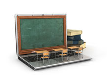 Webinar concept. Schooldesk and chalkboard on the laptop keyboard. 3d illustration Royalty Free Stock Photo