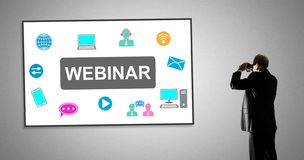Webinar concept on a whiteboard royalty free stock photo