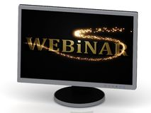 Webinar with 3D glowing trail lights Stock Photography