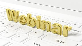 Webinar 3D gold text on laptop. Keyboard Royalty Free Stock Photo