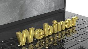 Webinar 3D text on laptop keyboard. With blackboard on screen Royalty Free Stock Images