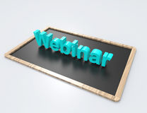Webinar 3d word concept with chalkboard. White background Royalty Free Stock Images