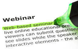 Webinar definition. 'Web-based seminar' highlighted in green, under the heading 'Webinar Stock Images