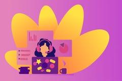 Webinar dziewczyna w słuchawki Sieć konsultant i sieć asystent Opowiadać na internecie Dystansowy uczenie Online poparcie operato royalty ilustracja