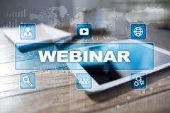 Webinar E-lära online-utbildningsbegrepp personlig utveckling Arkivfoto