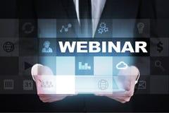 Webinar. E-Learning, Online Education concept. Personal development. Virtual screen. Stock Photos