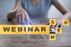 Webinar. E-Learning, Online Education concept. Personal development. Virtual screen. Stock Images