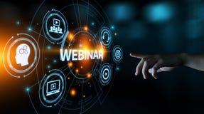 Webinar-E-Learning-Trainings-Geschäfts-Internet-Technologie-Konzept stockbild