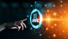Webinar-E-Learning-Trainings-Geschäfts-Internet-Technologie-Konzept stockfotografie