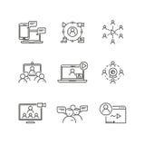 Webinar ed icone lineari di vettore di comunicazione illustrazione vettoriale