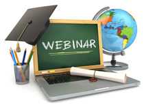 Webinar education concept. Laptop with blackboard, mortar board Stock Photo