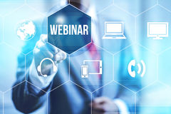 Webinar education. Webinar online concept pointing finger