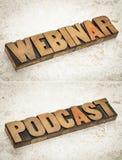 Webinar en podcast woorden Stock Foto
