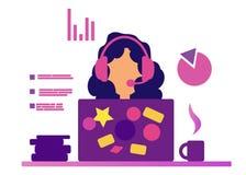 Webinar flicka i hörlurar med mikrofon Rengöringsdukkonsulent och rengöringsdukassistent Samtal på internet Distansutbildning On- stock illustrationer
