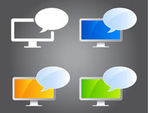 Webinar icons. Monitor icons with bubbles in different colors. eps file included