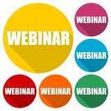 Webinar icons set with long shadow. Vector icon Stock Image