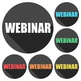 Webinar icons set with long shadow. Vector icon Stock Photography