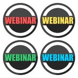 Webinar icons set with long shadow. Vector icon Stock Photos