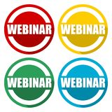 Webinar icons set with long shadow. Vector icon Royalty Free Stock Image