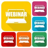 Webinar icons set with long shadow. Vector icon Stock Photo