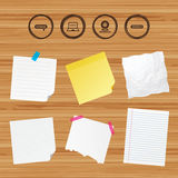 Webinar icons. Web camera and notebook pc signs. Stock Image