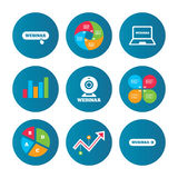 Webinar icons. Web camera and notebook pc signs. Royalty Free Stock Images