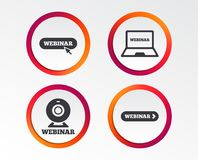 Webinar icons. Web camera and notebook pc signs. Stock Images