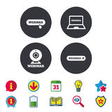 Webinar icons. Web camera and notebook pc signs. Website e-learning or online study symbols. Calendar, Information and Download signs. Stars, Award and Book Stock Photo