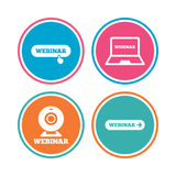 Webinar icons. Web camera and notebook pc signs. Royalty Free Stock Photography