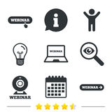 Webinar icons. Web camera and notebook pc signs. Stock Photo