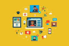 Webinar. Illustration of webinar flat design concept with icons elements Royalty Free Stock Image