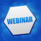 Webinar im Hexagon, flaches Design Stockfotografie