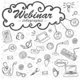 Webinar infographic, εικονίδια για τη σε απευθείας σύνδεση εκπαίδευση, ε-εκμάθηση, σεμινάριο Ιστού Στοκ φωτογραφία με δικαίωμα ελεύθερης χρήσης