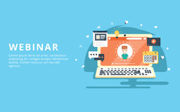 Webinar, internet conference, web based seminar flat design concept. With icons Stock Image