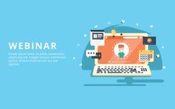 Webinar, Internet-Konferenz, Netz basierte flaches Konzept des Entwurfes des Seminars lizenzfreie abbildung