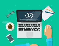 Webinar-Konzept, on-line-Training, Bildung auf Computer, E-Learning-Arbeitsplatz Lizenzfreie Stockbilder