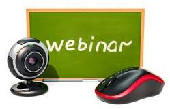 Webinar-Konzept mit Tafel, Computermaus und Webcam 3D r Stockfoto