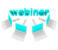 Webinar - Laptops rond Word Royalty-vrije Stock Foto's