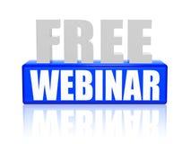 Webinar libero in lettere 3d e blocco Fotografia Stock