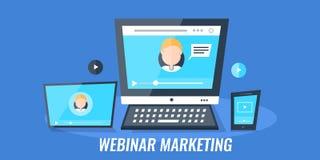 Webinar marketing - videoconfereren - Webseminarie over digitale media apparaten Vlakke ontwerp vector marketing banner vector illustratie
