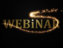 Webinar from metal letters with beautiful glowing trail lights Stock Photos